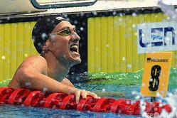 競泳の欧州選手権で男子400メートル個人メドレーを制したロシアのイリヤ・ボロディン(2021年5月23日撮影)。(c)Attila KISBENEDEK / AFP