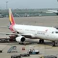 仁川国際空港で離陸を待つアシアナ機=17日、仁川(聯合ニュース)
