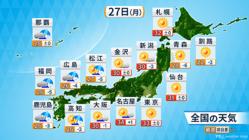 27日の天気予報。