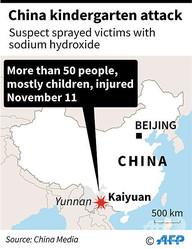 幼稚園で腐食性の液体がまかれ、50人以上が負傷する事件が発生した中国雲南省開遠の位置を示した地図。(c)AFP