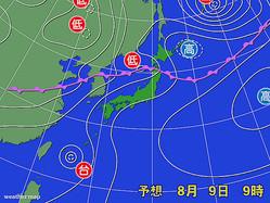 9日午前9時の予想天気図。