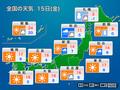 15日は東京や大阪で今季一番の冷え込みに 北海道は積雪増加に注意