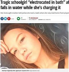 """感電死した12歳少女(画像は『Mirror 2018年2月2日付「Tragic schoolgirl """"electrocuted in bath"""" after smartphone falls in water while she's charging it」(Image: east2west news)』のスクリーンショット)"""