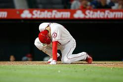 投球が直撃し苦悶の表情を浮かべたエンゼルス・大谷翔平【写真:Getty Images】