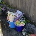 静岡県沼津市で19歳の女子大生が殺害された事件現場。花が手向けられていた(撮影・小川泰平)