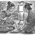 吉原の遊女の風習がもとになったといわれる「指切り」(イラスト/竹本佐治)
