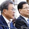 首席秘書官・補佐官会議で発言する文大統領(左)=15日、ソウル(聯合ニュース)