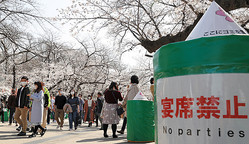 五分咲きとなったソメイヨシノを見ながら歩く人たち。新型コロナウイルスの感染拡大を防ぐため「宴席禁止」が呼びかけられていた=2020年3月21日午後1時51分、東京都台東区の上野恩賜公園、西畑志朗撮影