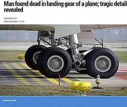密航者が狙う車輪格納庫(画像は『Khaleej Times 2019年10月1日付「Man found dead in landing gear of a plane; tragic details revealed」(Agencies file)』のスクリーンショット)