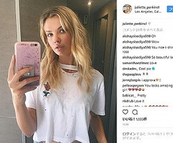 レオ様なんと19歳のモデルをお持ち帰り(画像は『Juliette Perkins 2017年10月16日付Instagram』のスクリーンショット)