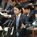 衆院予算委員会で答弁する小泉進次郎環境相(左手前)。右端は安倍晋三首相=11日、国会内
