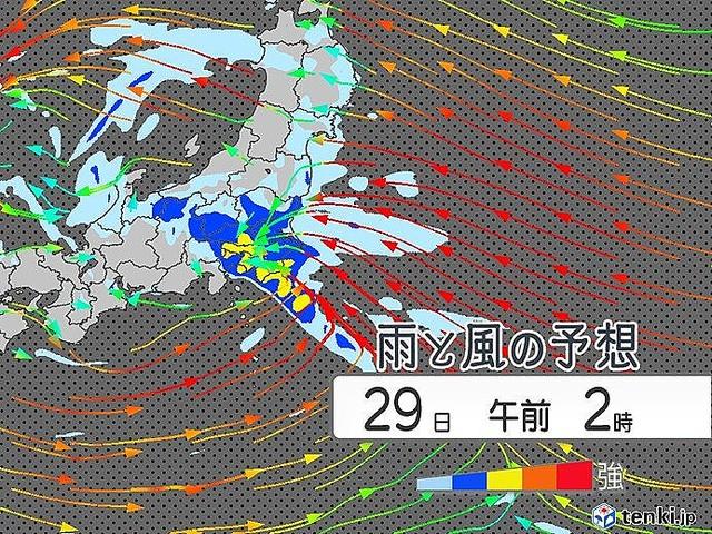 関東 今夜は季節外れの大雨 夜にかけて雨風強まる
