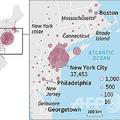 米国各地での新型コロナウイルスの感染者数を示した地図。日本時間3月31日午前8時現在のデータより。(c)SOPHIE RAMIS, PATRICIO ARANA / AFP
