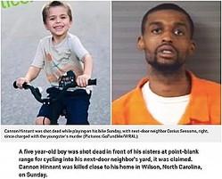 殺害された5歳男児と逮捕された隣人の25歳男(画像は『Metro 2020年8月11日付「Boy, 5, shot dead at point-blank range 'for riding into neighbor's yard'」(Pictures: GoFundMe/WRAL)』のスクリーンショット)