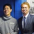 ドジャースの前田健太(右)と談笑する秋山翔吾