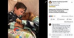 ベストフレンドの犬と一緒に寝る男児(画像は『Together anything is pawsible 2020年9月2日付Facebook「Let sleeping dogs lie...」』のスクリーンショット)