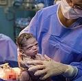 仏頂面で誕生した赤ちゃん(画像は『news.com.au 2020年2月24日付「Newborn's seriously unimpressed facial expression moments before doctor cuts cord has internet in stitches」(Picture: Courtesy of Rodrigo KunstmannSource:Supplied)』のスクリーンショット)