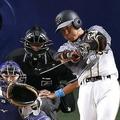 阪神・長坂は2019年に「打率10割・長打率40割」を記録した (C) Kyodo News