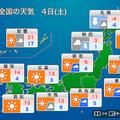 1月4日は関東でも夜に雨や雪の可能性 Uターンは早めに