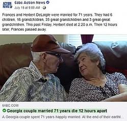 71年連れ添い、同じ日に亡くなった夫婦(画像は『6abc Action News 2019年7月16日付Facebook「Frances and Herbert DeLaigle were married for 71 years.」』のスクリーンショット)