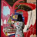 ジャンミシェル・バスキアの絵画「イン・ディス・ケース」。米ニューヨークで開かれた競売大手クリスティーズのメディア向け先行公開で(2021年5月3日撮影)。(c)TIMOTHY A. CLARY / AFP