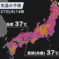 フェーン現象により日本海側で危険な暑さか 最高気温35度以上の予想も