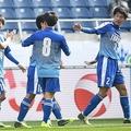 後藤田(2番)のゴールで高校選抜は欧州遠征の成績を1勝1分とした。写真:徳原隆元