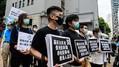 香港で国家安全法導入に反対するデモ隊(2020年5月22日、中国・香港)