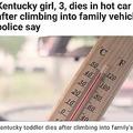 親の知らぬ間に車に乗り込んだ3歳女児が死亡(画像は『KIRO-TV 2020年7月16日付「Kentucky girl, 3, dies in hot car after climbing into family vehicle, police say」』のスクリーンショット)