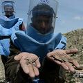 アフガニスタンの首都カブール郊外の村で、撤去した地雷の破片を見せる地雷処理員(2013年4月2日撮影、資料写真)。(c) SHAH MARAI / AFP