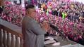 2020年10月10日、平壌で、軍事パレードに際し演説する北朝鮮の金正恩朝鮮労働党委員長[朝鮮中央テレビの映像より]