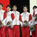 9大会連続で銅メダルを獲得した男子団体日本代表(AP)