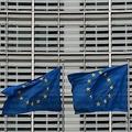 ベルギー・ブリュッセルに掲げられた欧州旗(2020年2月21日撮影、資料写真)。(c)Ludovic MARIN / AFP