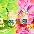 「グリーン アップル ジェリー フラペチーノ」「ベイクド アップル ピンク フラペチーノ」/画像提供:スターバックス コーヒー ジャパン