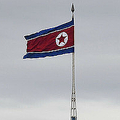 北朝鮮の国旗(2018年4月24日撮影、資料写真)。(c)Jung Yeon-je / AFP