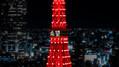 東京タワー、赤色に灯る「東京タワー レッドライトアップ 2021」を開催