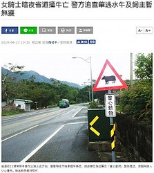 「動物注意」の標識を設置していたものの…(画像は『聯合新聞網 2019年6月17日付「女騎士暗夜省道撞牛亡 警方追查肇逃水牛及飼主暫無獲」(聯合報系資料照片)』のスクリーンショット)