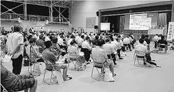 (写真)県が主催した女川原発の住民説明会=1日、宮城県女川町