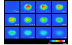 ブロック型ラムダ五酸化三チタンに圧力印加した後のサーモグラフィー画像の時間変化。圧力は時間t = 0で与えている。試料温度は最高温度85.5 ºCまで到達した(リリースより)