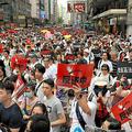 逃亡犯条例改正案の撤回を求める大規模なデモ=2019年6月9日、香港、益満雄一郎撮影