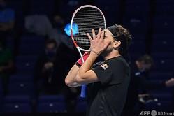 男子テニス、ATPファイナルズ7日目。勝利を喜ぶドミニク・ティエム(2020年11月21日撮影)。(c)Glyn KIRK / AFP