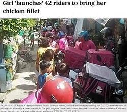 道いっぱいに列をなすデリバリーの配達員たち(画像は『SUNSTAR: Philippines 2020年11月26日付「Girl 'launches' 42 riders to bring her chicken fillet」(CONTRIBUTED, JED ALERTA)』のスクリーンショット)