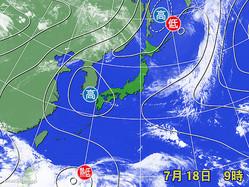18日午前9時の天気図と衛星画像。