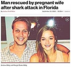 サメに襲われた夫を救った妊娠中の妻(画像は『New York Post 2020年9月23日付「Man rescued by pregnant wife after shark attack in Florida」(Facebook)』のスクリーンショット)