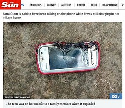 突然、爆発したスマートフォン(画像は『The Sun 2018年3月19日付「DEADLY CALL Girl, 18, killed when Nokia phone she was chatting on EXPLODED after she plugged it in」(IMAGE: CENTRAL EUROPEAN NEWS)』のスクリーンショット)