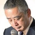 岡本社長の会見(写真/時事通信フォト)