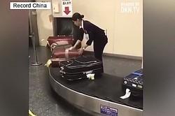 7日、中国版ツイッター・微博で、日本の空港職員のある様子を撮影した動画が掲載され、ネットユーザーからコメントが寄せられている。写真は動画より。