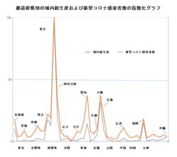 都道府県別の域内総生産および新型コロナ感染者数の指数化グラフ