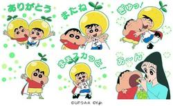 しんちゃん、ゆずマスコットキャラ「ゆずマン」とのコラボLINEスタンプ発売
