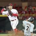 遊ゴロを処理した田中が長野を二封、一塁へ送球し併殺。右は二塁手菊池=マツダ